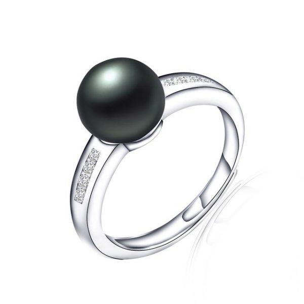 Simple Genuine Natural Freshwater Pearl Sterling Silver Adjustable Ring