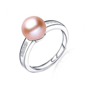 Simple Genuine Natural Freshwater Pearl Sterling Silver Adjustable Ring