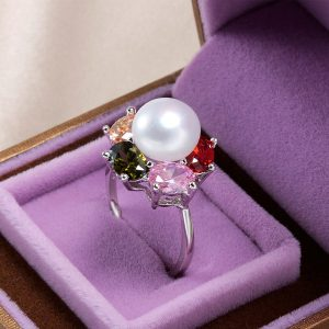 multi-color-zircon-genuine-natural-freshwater-pearl-adjustable-sterling-silver-women-ring