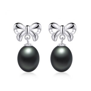Bowknot Genuine Natural Freshwater Pearl Drop Women Earrings 925 Sterling Silver