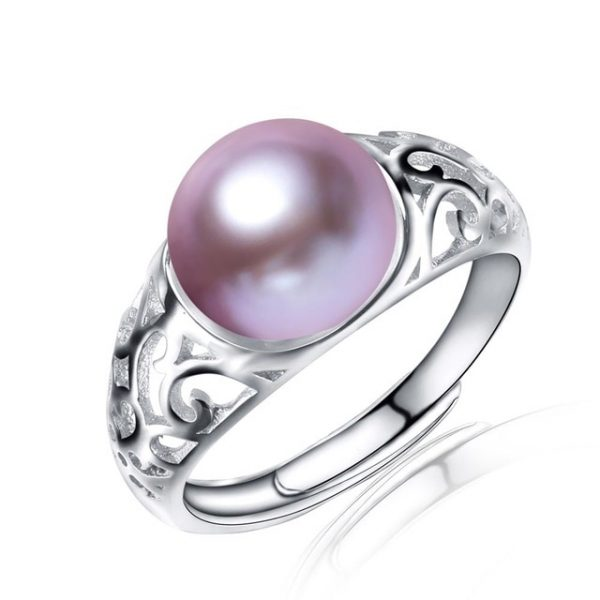 Classic Genuine Natural Freshwater Pearl Sterling Silver Adjustable Ring