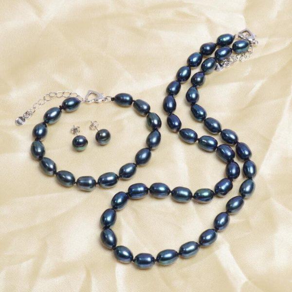 Black Genuine Natural Freshwater Pearl Necklace Bracelet Earrings Women Jewelry Set
