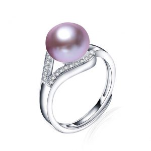 Genuine Freshwater Pearl 925 Sterling Silver Zircon Adjustable Ring-Big Size Pearl 9-10 mm