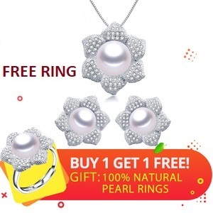Floral Style Sterling Silver Genuine Freshwater Natural Pearl Women Pendant Necklace Ring Earrings Set