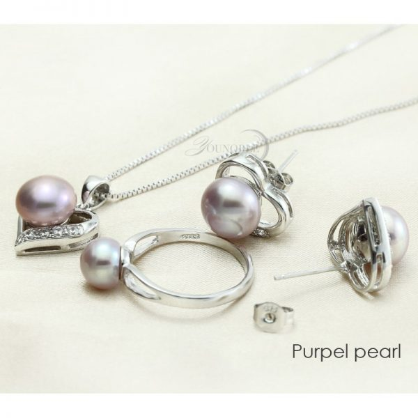 Genuine Natural Freshwater Pearl Sterling Silver Pendant Necklace Earrings Ring Women Jewelry Set