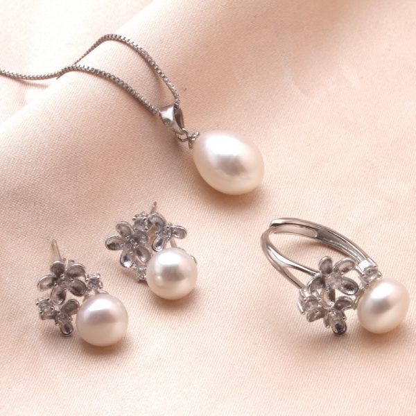 Floral Sterling Silver Genuine Natural Freshwater Pearl Pendant Necklace Ring Earrings Women Jewelry Set