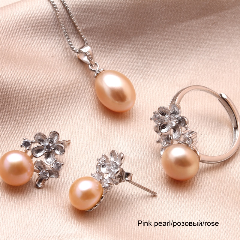 Floral Sterling Silver Genuine Natural Freshwater Pearl Pendant
