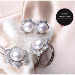 Floral Style Sterling Silver 11-12mm Big Size Genuine Freshwater Natural Pearl Women Pendant Necklace Ring Earrings Set