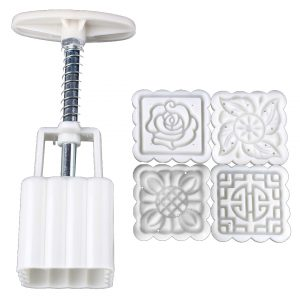 Four Pieces Set Mini Square Moon Cake Mold Hand Pressure Flower Pastry
