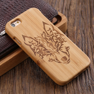 Dedicate Wolf Carved Bamboo Wood Hard IPhone Case