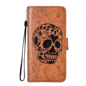 Skull Printed Leather Samsung Mobile Flip Cover Case Wallet