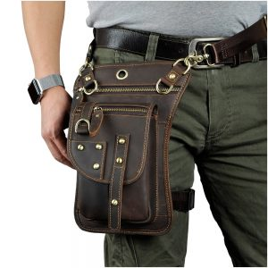 Multi Use Purpose Rock Style Men Leather Belt Bag