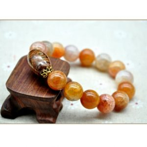 Natural Real Agate Jade Amber Stone Unisex Bracelet