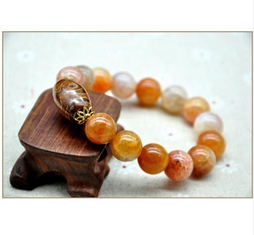 Natural Real Agate Jade Amber Stone Unisex Bracelet