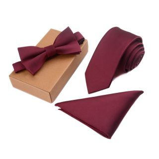 Three Pieces Gentleman Tie Bow Handkerchief Set