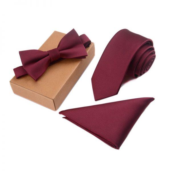 Three Pieces Gentleman Tie Bow Handkerchief Set