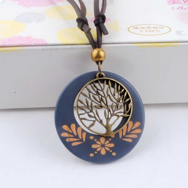 Long Leather Cord Tree Life Design Wooden Men Boys Necklace