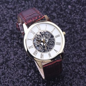 Classic Roman Numbers Quartz Men Boys Wristwatch