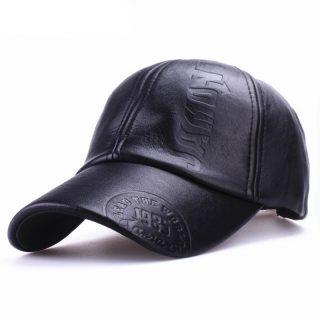 Genuine Leather Adjustable Baseball Cap Men Hat