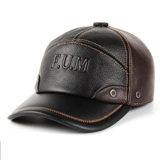 Genuine Leather Baseball Cap Sport Design Men Hat