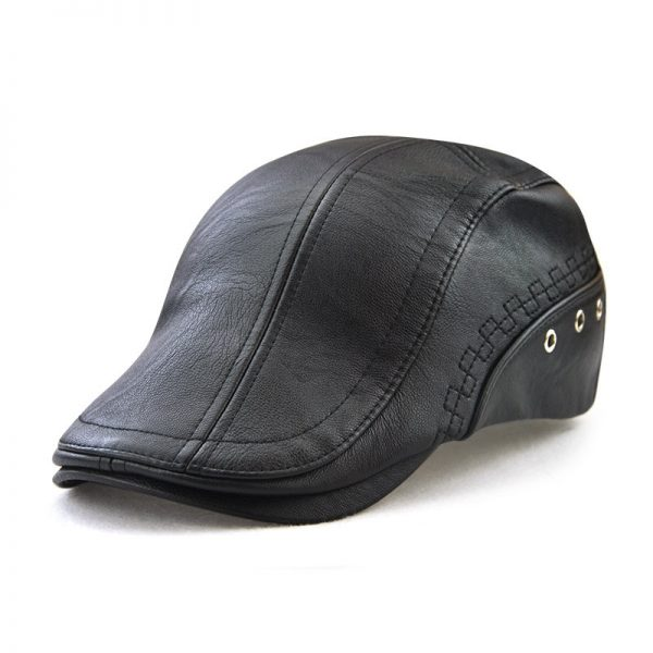 Casual Stylish Patchwork Faux Leather Boys Men Hat Cap