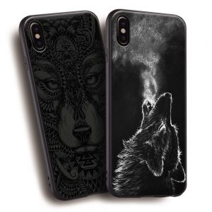 Black Face Head Wolf IPhone Back Case Cover
