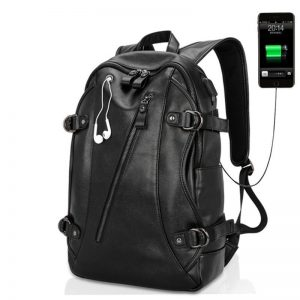 USB Port PU Leather Men Shoulder Backpack