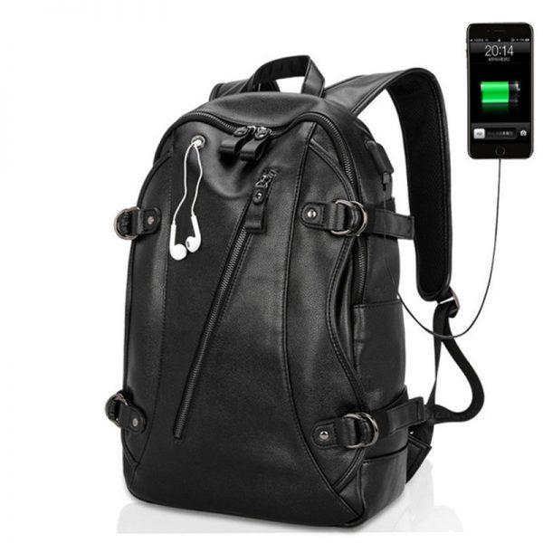 USB Port PU Leather Men Shoulder Backpack