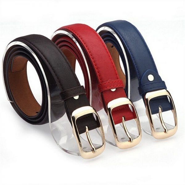 Women Girls Fashion Metal Buckle PU Leather Belt