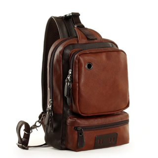 PU Leather Crossbody Zipper Men Backpack Bag