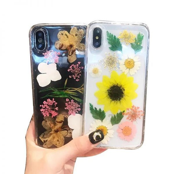 Real Dried Flower Back Cover IPhone 8 6S 6 7 Plus Cases