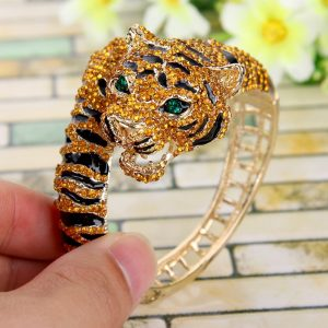 Tiger Enamel Crystal Women Girls Bracelet Bangle