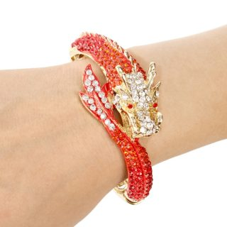 Beautiful Crystal Dragon Women Girls Bracelet Bangle