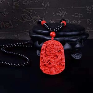 Big Red Dragon Cinnabar Women Pendant Bead Necklace