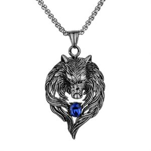 Wolf Stainless Steel Crystal Men Pendant Chain Necklace