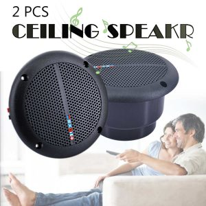 Two Pieces 25W Waterproof Ceiling Speaker Systems 2-Way Flush Mount