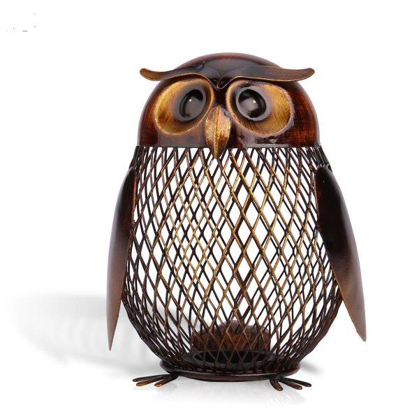 Owl Bank Metal Coin Storing Decoration Box
