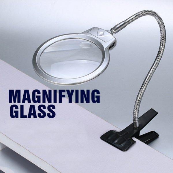 Magnifying Glass LED Lighted Lamp Clip On Desktop