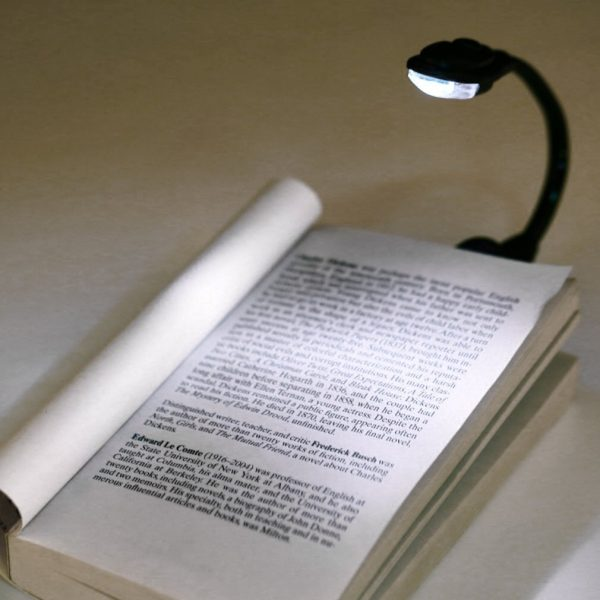 Small White Lead Reading Book Light Laptop Clip-On