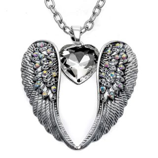 Angel Wings Heart Necklace Women Girls Pendant Necklace