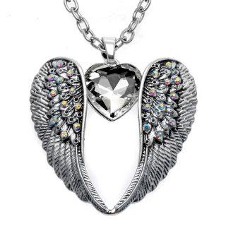 Angel Wings Heart Necklace Women Girls Pendant Necklace